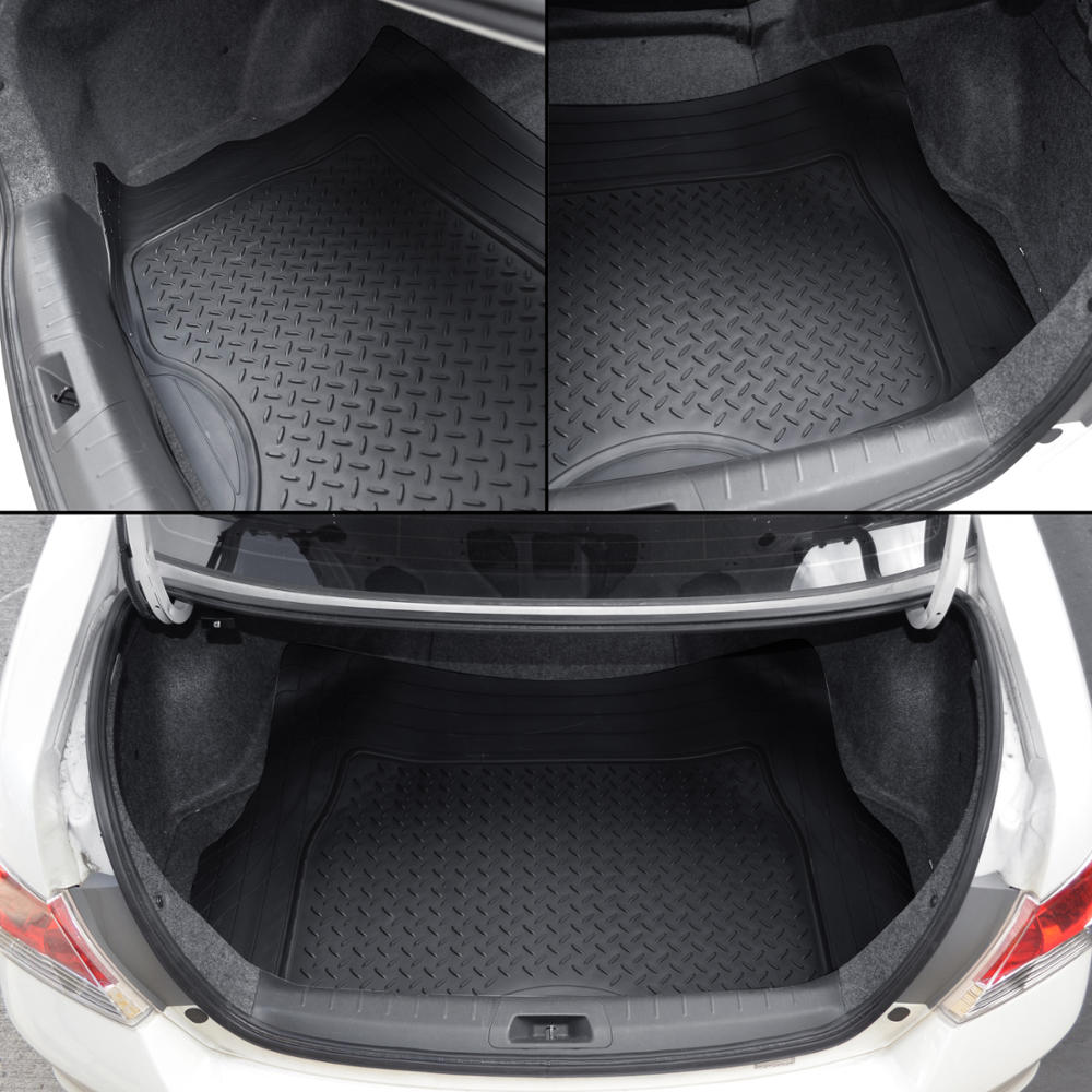 motor trend black ridged heavy duty rubber front rear floor mats w cargo mat ebay. Black Bedroom Furniture Sets. Home Design Ideas