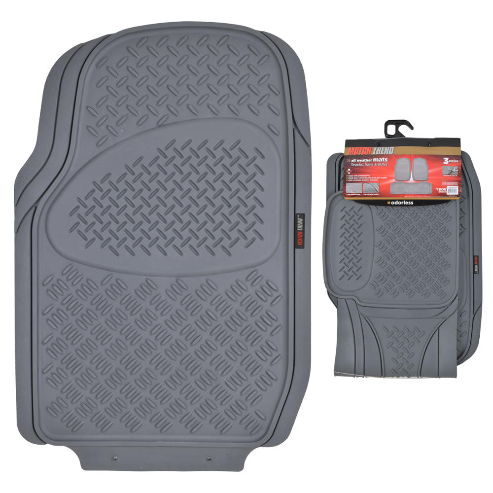 Motor trend gray ridged heavy duty rubber front rear for Motor trend floor mats review