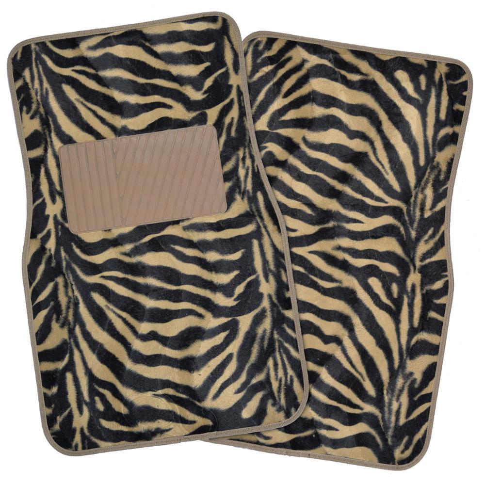 New Superior Zebra Design Car Auto Carpet 4 Piece Premium