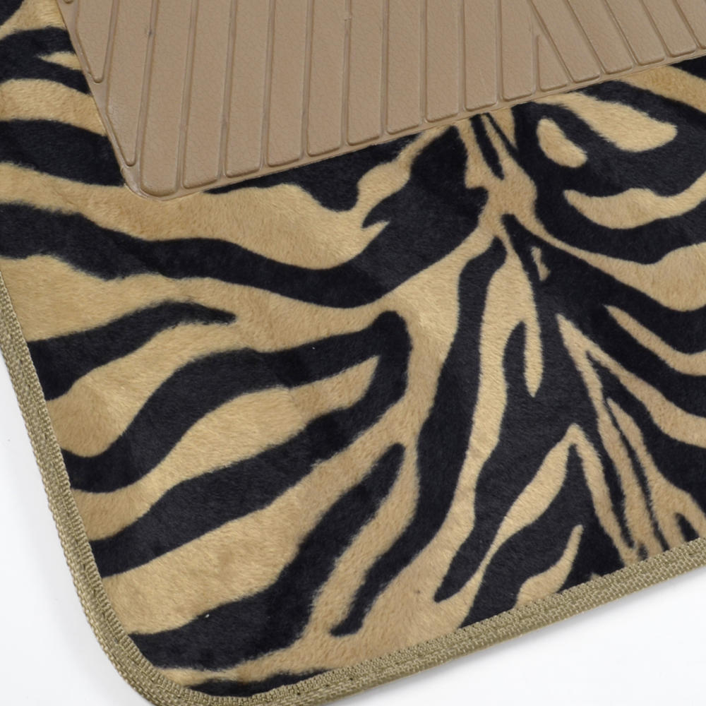 Supreme Zebra Beige 4 Piece Plush High Quality Car