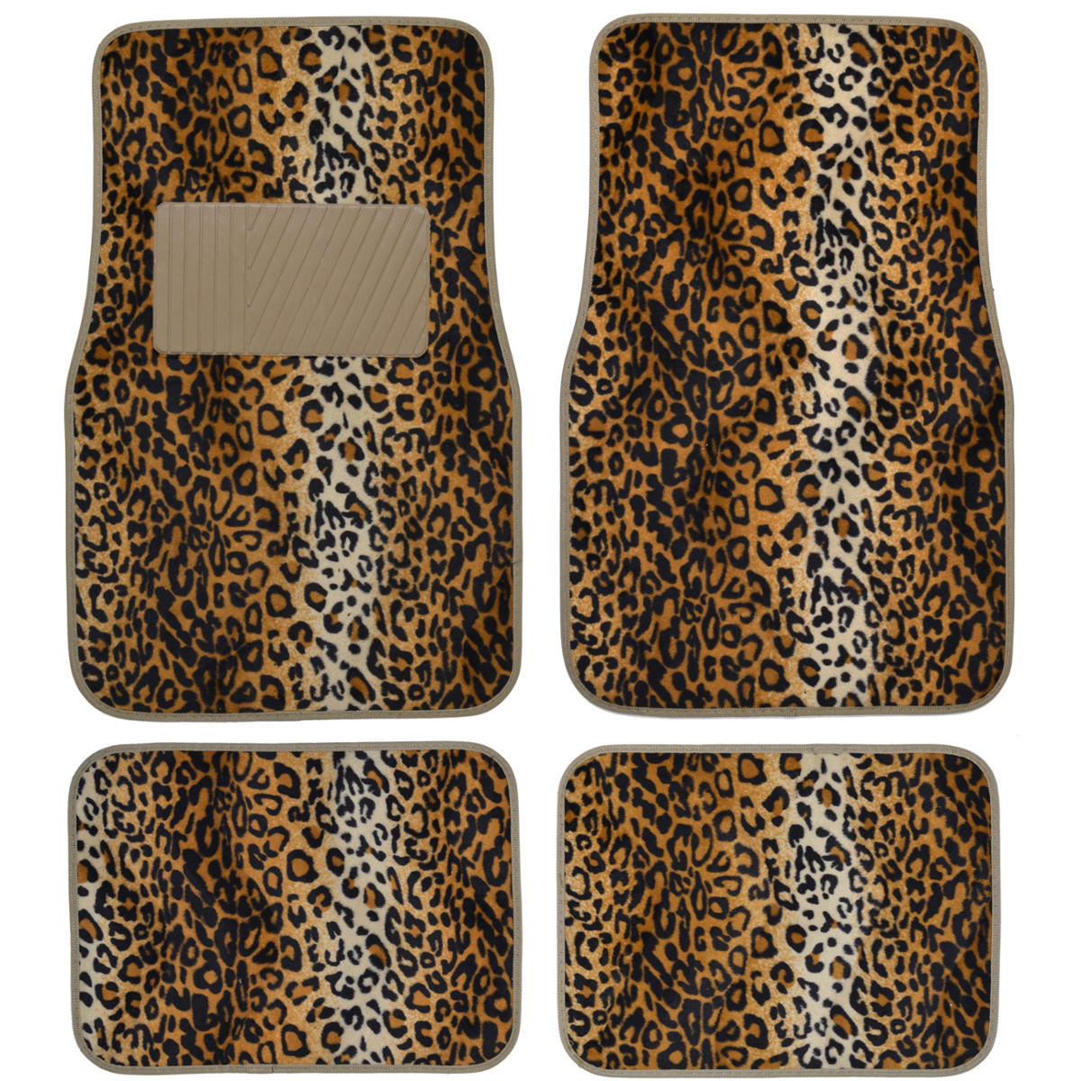 Supreme Leopard Beige 4 Piece Plush High Quality Car