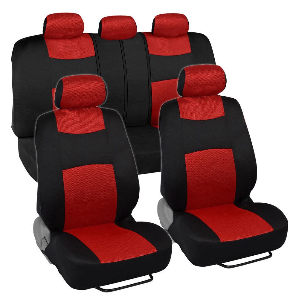 9pc Mesh Car Seat Covers Red Split Option Bench