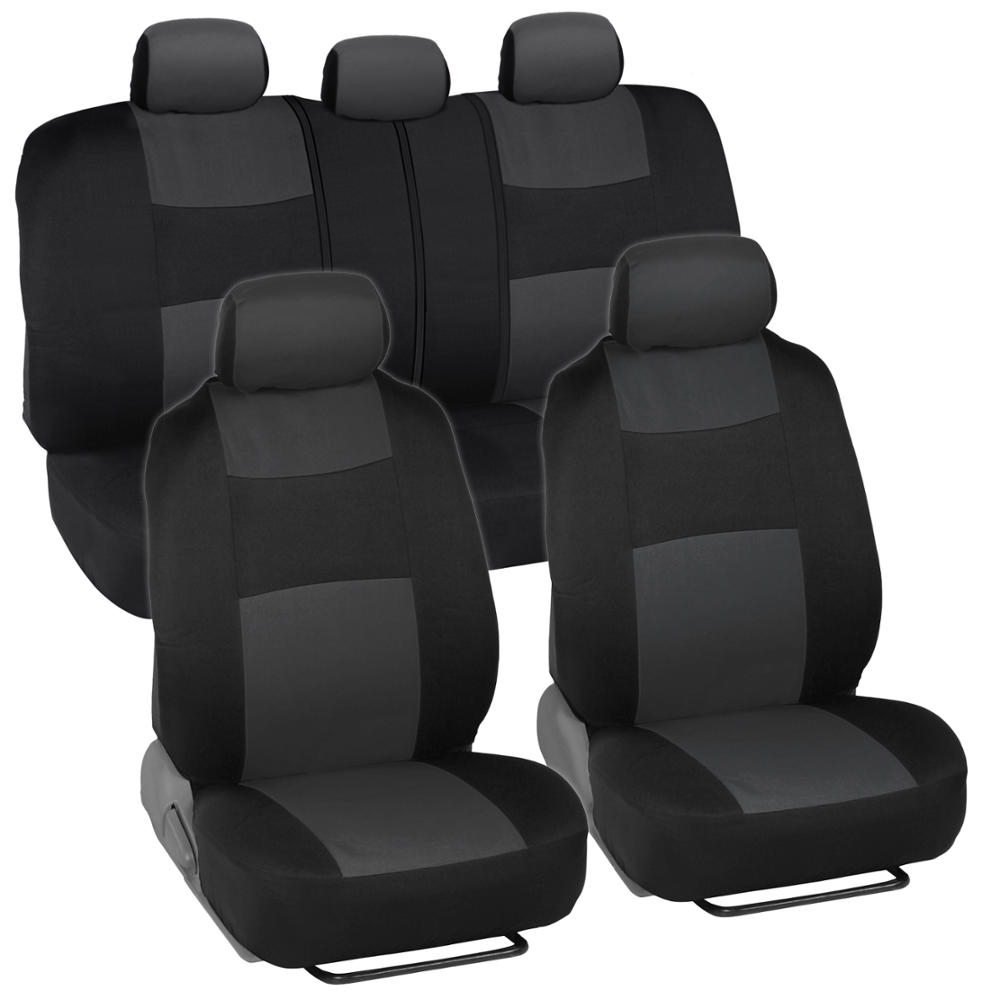 Charcoal Full Set Car Seat Covers Premium Double Stitching