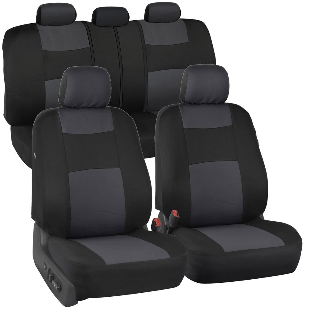 Charcoal seat covers double stitched split bench option