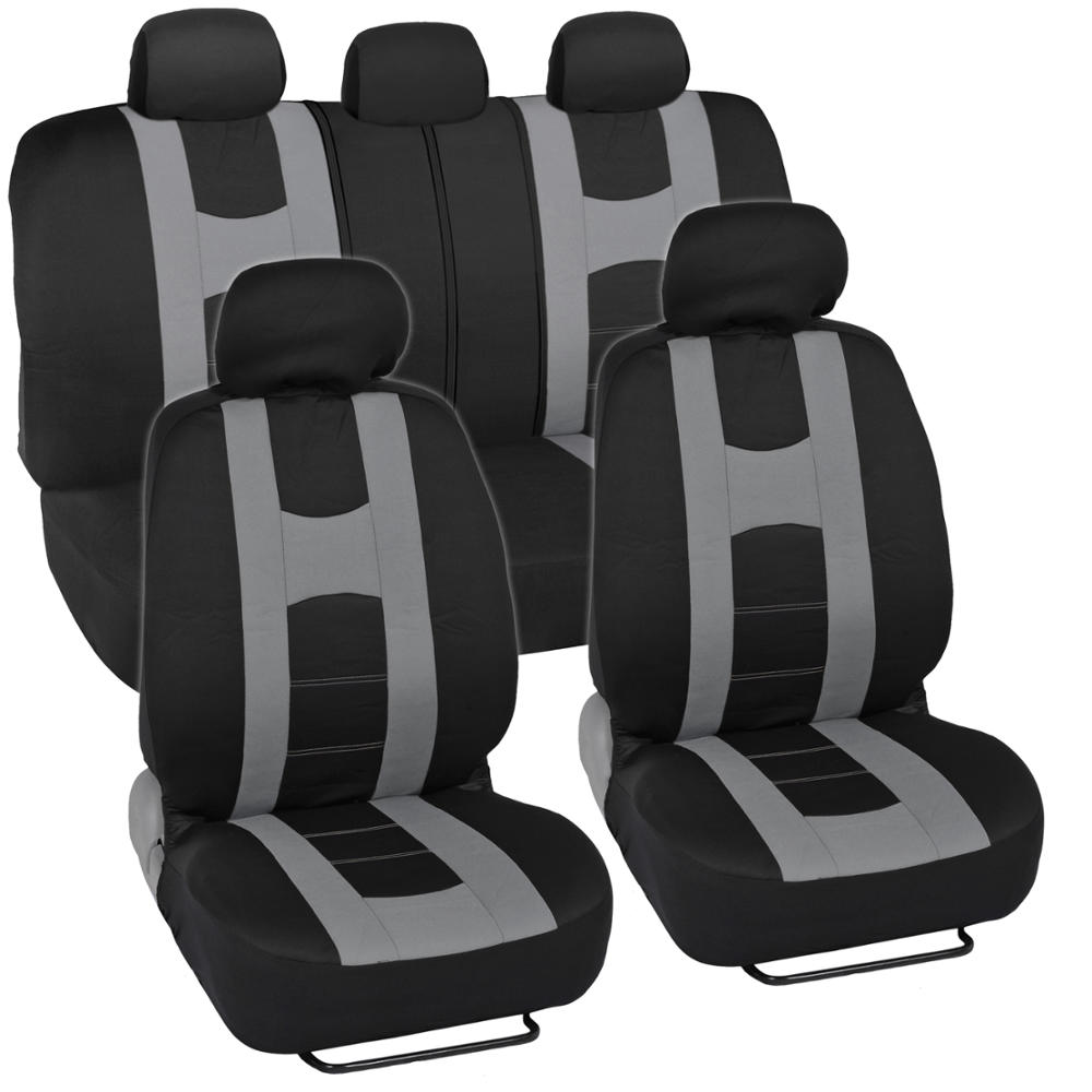 car seat covers sport stripes black and gray front and rear bench full set ebay. Black Bedroom Furniture Sets. Home Design Ideas