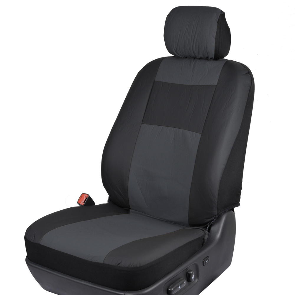 subtle charcoal gray on black pu leather car seat covers auto interior protector ebay. Black Bedroom Furniture Sets. Home Design Ideas
