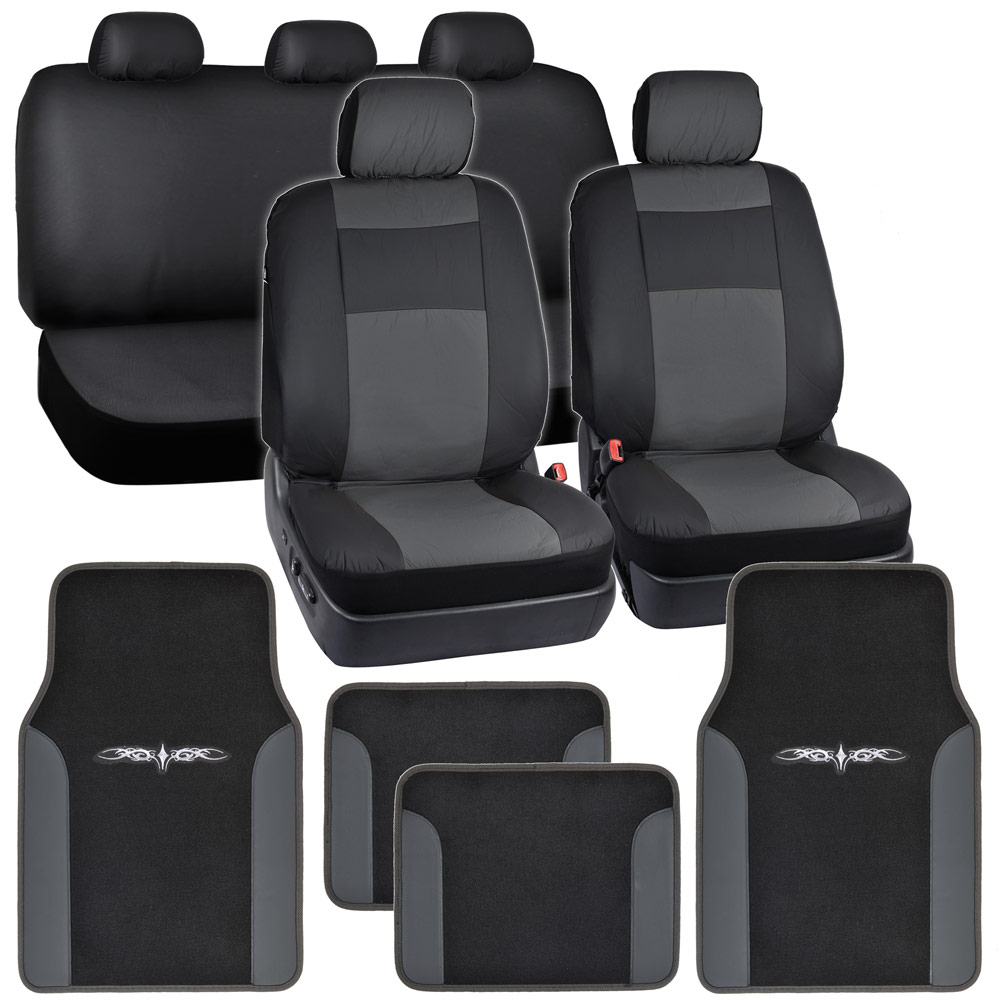 Synthetic Leather Car Seat Covers Carpet Floor Mats Black