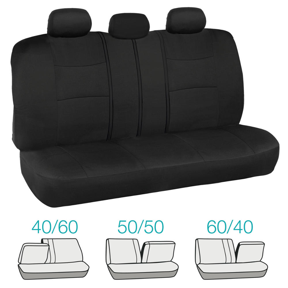 Full Seat Seat Covers In Black High Back Bucket Front Split Bench Rear Pads Ebay