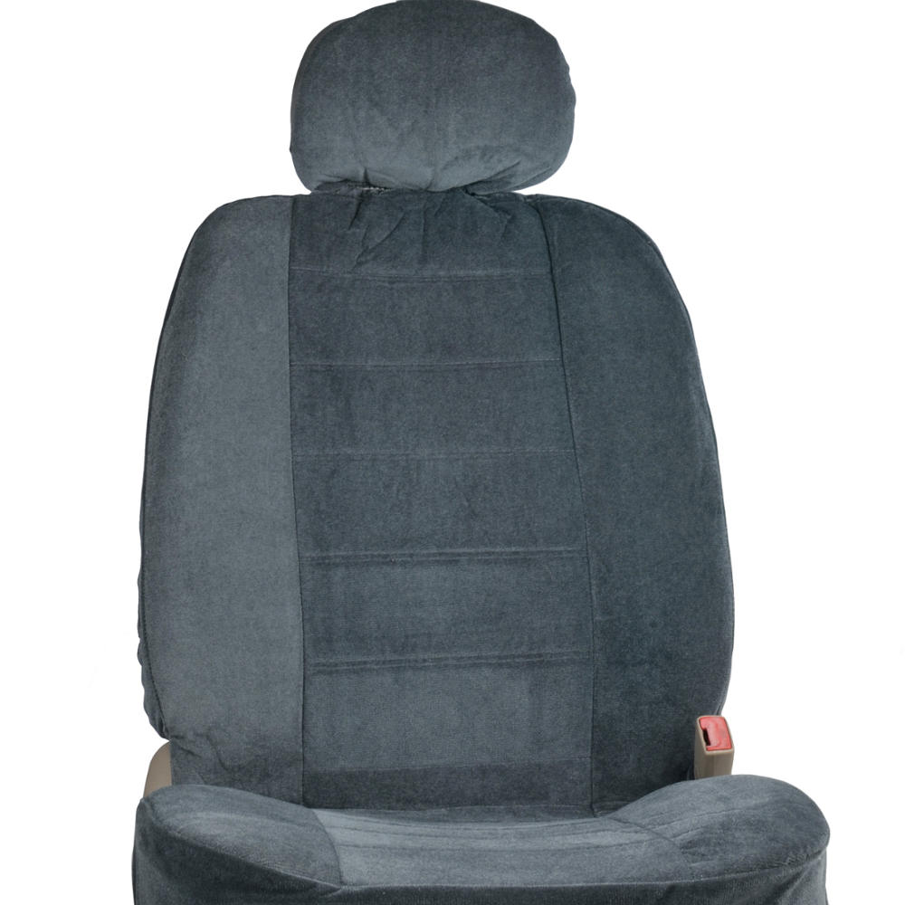 bdk classics poly velour seat covers for truck suv car large charcoal gray ebay. Black Bedroom Furniture Sets. Home Design Ideas