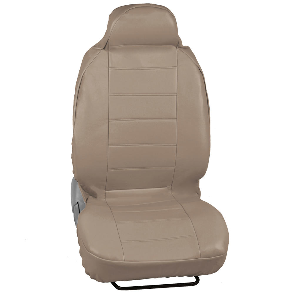 Beige Tan Pu Leather Car Seat Covers High Back Deluxe Leatherette Pair Ebay