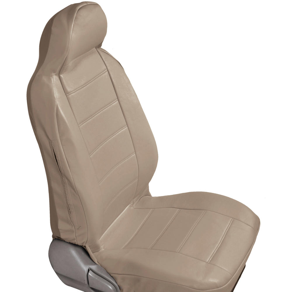 beige tan pu leather car seat covers high back deluxe leatherette pair ebay. Black Bedroom Furniture Sets. Home Design Ideas