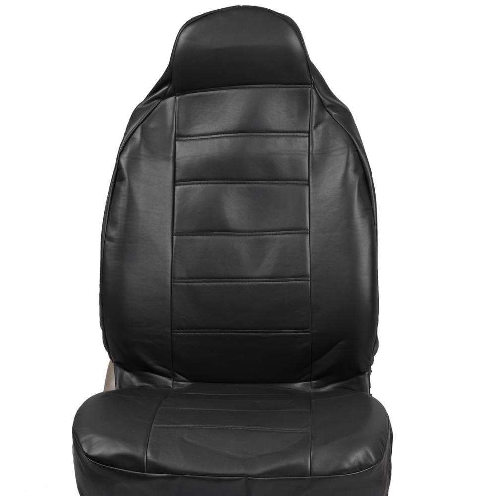 high back bucket car seat covers premier pu leather in solid black 2pc set ebay. Black Bedroom Furniture Sets. Home Design Ideas