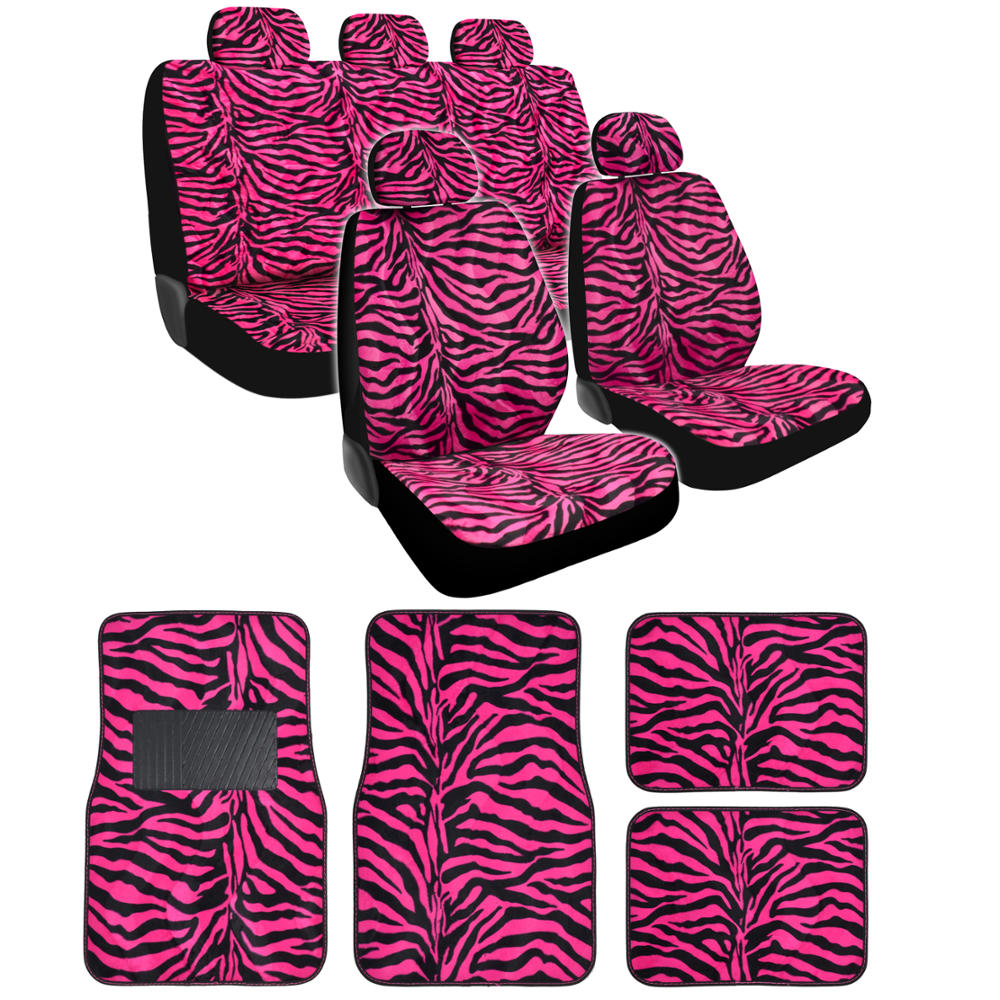 ZEBRA HOT PINK FRONT REAR SEAT COVER WITH FLOOR MATS CAR