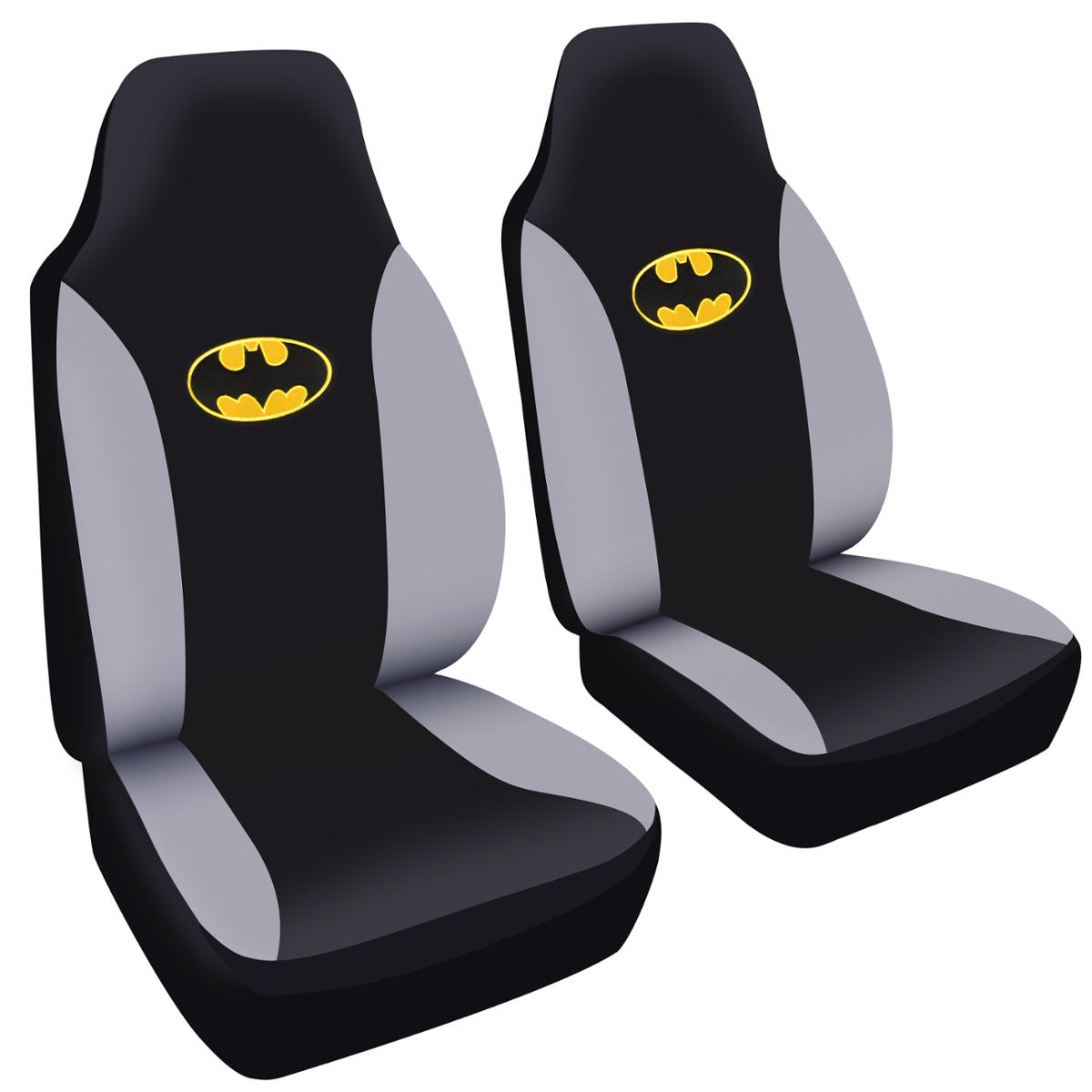2 pc batman classic seat covers for car suv truck w highback seat snug fit ebay. Black Bedroom Furniture Sets. Home Design Ideas
