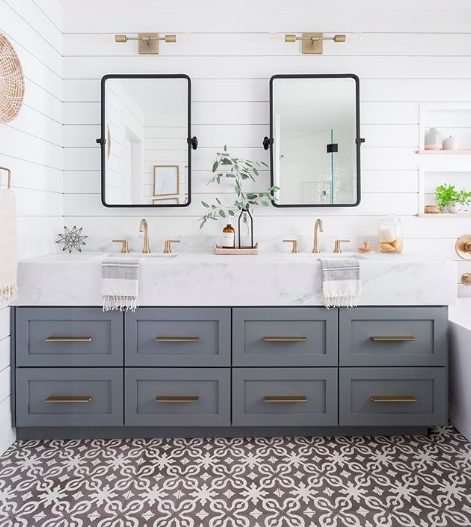 Sophisticated Neutrals and Compelling Patterns Create an Unforgettable Bathroom