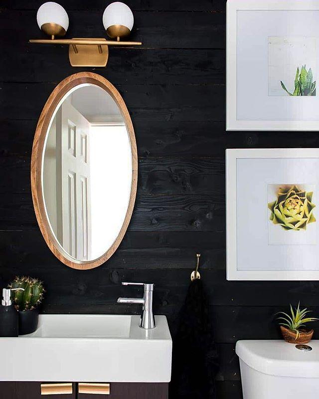 We're Bookmarking This Black Shiplap Bathroom Idea