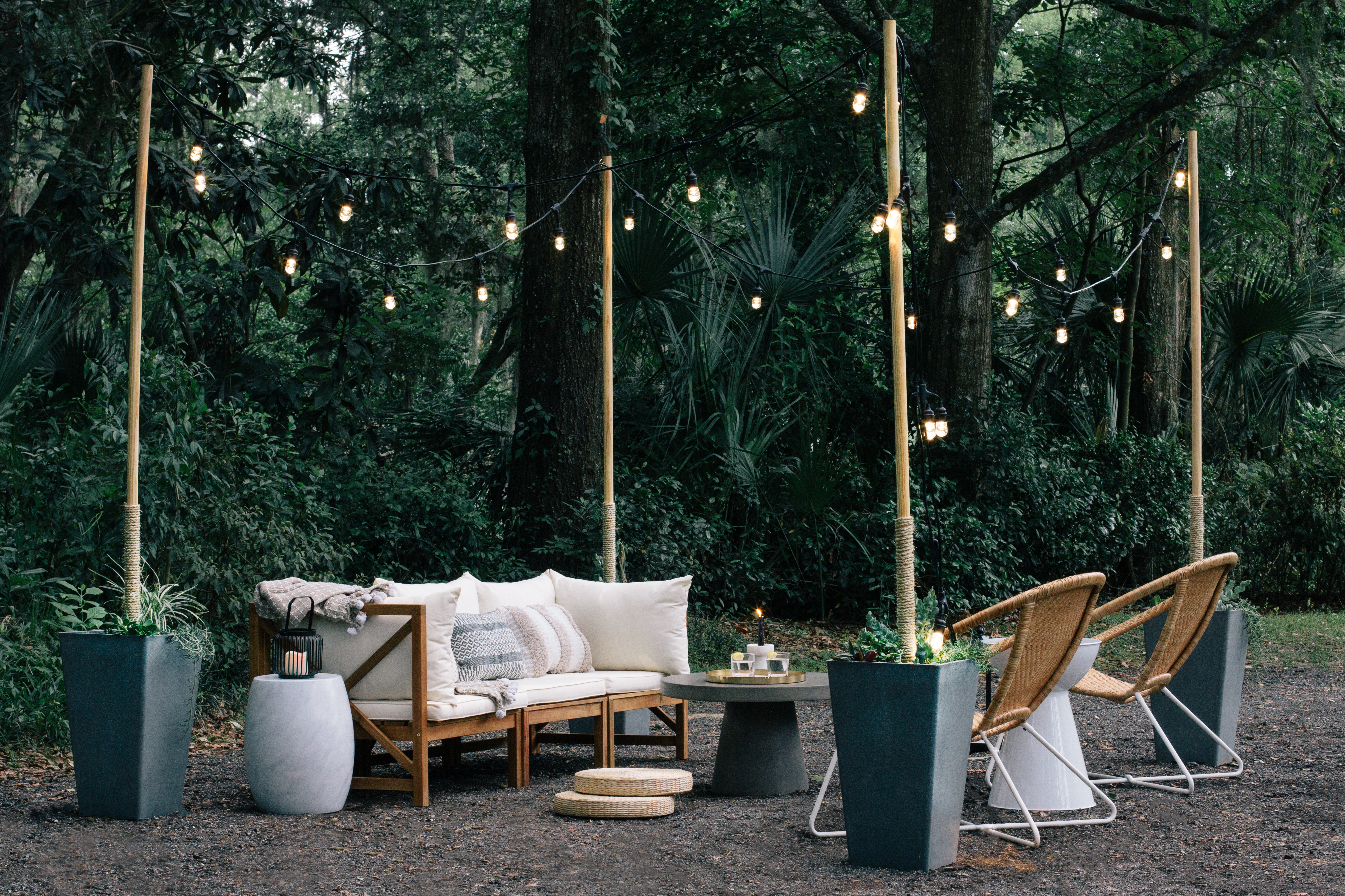 DIY & Done: Create an Outdoor Entertaining Space With String Light Poles