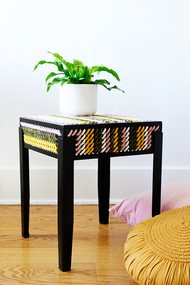 Look Closely: That's Yarn We're Using on This IKEA Stool (A Unique Piece!)