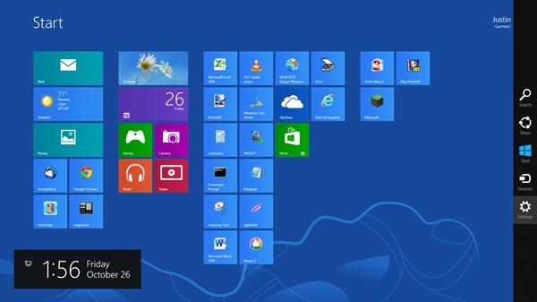 about windows 8 start screen