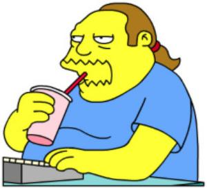 jeff albertson comic book guy the simpsons drinking icee