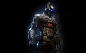 A still of the new villain of Batman: Arkham Knight, the Arkham Knight.