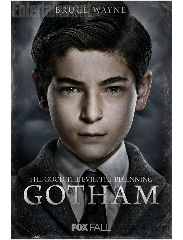 Bruce Wayne (David Mazouz): Newly orphaned with enormous wealth, a 12-year-old seeking a new purpose for his life after witnessing his parent's murder.