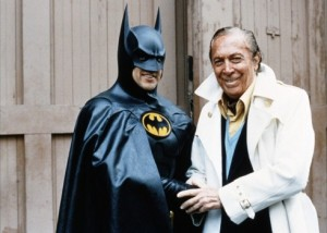 Bob Kane with Micheal Keaton on the first Batman Film