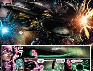 A shot from GREEN LANTERN: NEW GUARDIANS 32 of the Psion's space ship