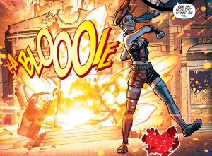 SECRET ORIGINS #4 - Harley Quinn walks away from an explosion