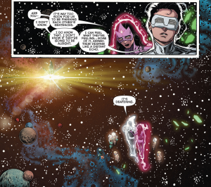 GREEN LANTERN: NEW GUARDIANS #34 - Carol ruins the solemn moment