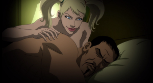 Batman: Assault on Arkham - Harley Quinn shows up in Deadshot's bed.
