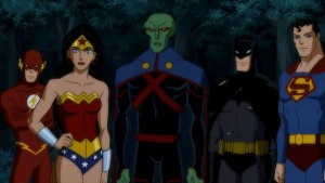 "A scene from ""Justice League: Doom"" a DC animated film produced by both Timm and Burnett"