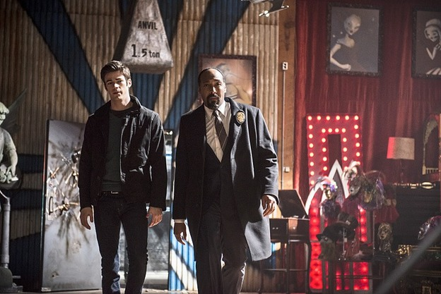 """The Flash -- """"Tricksters"""" -- Image FLA117A_0153b -- Pictured: (L-R) Grant Gustin as Barry Allen and Jesse L. Martin as Detective Joe West -- Photo: Cate Cameron/The CW -- © 2015 The CW Network, LLC. All rights reserved."""