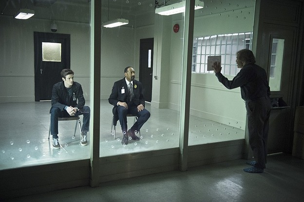 """The Flash -- """"Tricksters"""" -- Image FLA117A_0142b -- Pictured: (L-R) Grant Gustin as Barry Allen, Jesse L. Martin as Detective Joe West and Mark Hamill as Jesse James-- Photo: Diyah Pera/The CW -- © 2015 The CW Network, LLC. All rights reserved."""