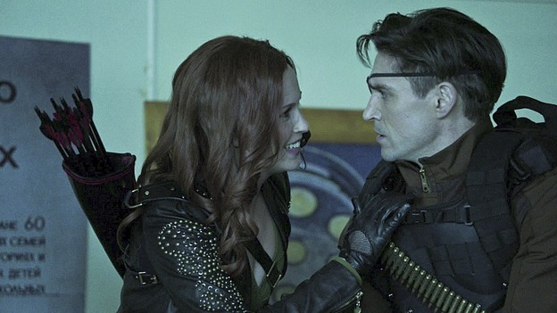 ".Arrow--""Suicidal Tendencies""--Image AR317A_0032b--Pictured (L-R): Amy Gumenick as Cupid and Michael Rowe as Floyd Lawton/Deadshot--Photo: The CW--© 2015 The CW Network, LLC. All rights reserved."