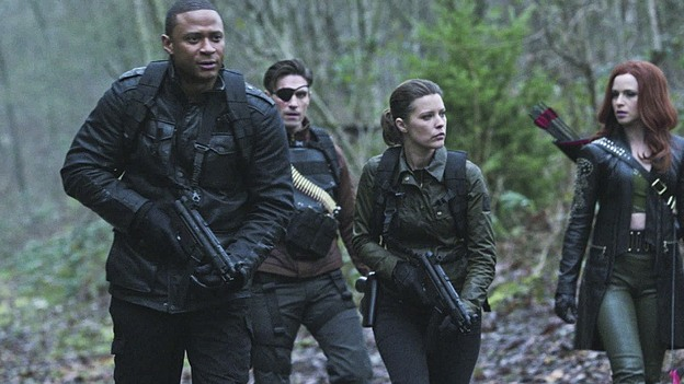 "Arrow--""Suicidal Tendencies""--Image AR317A_0018b--Pictured (L-R): David Ramsey as John Diggle, Michael Rowe as Floyd Lawton/Deadshot, Audrey marie Anderson as Lyla Michaels and Amy Gumenick as Carrie Cutter/Cupid--Photo: The CW--© 2015 The CW Network, LLC. All rights reserved."