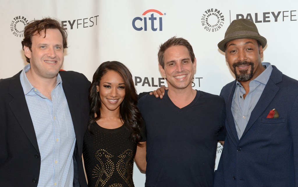 L-R: Andrew Kreisberg, Candice Patton, Greg Berlanti and Jesse L. Martin