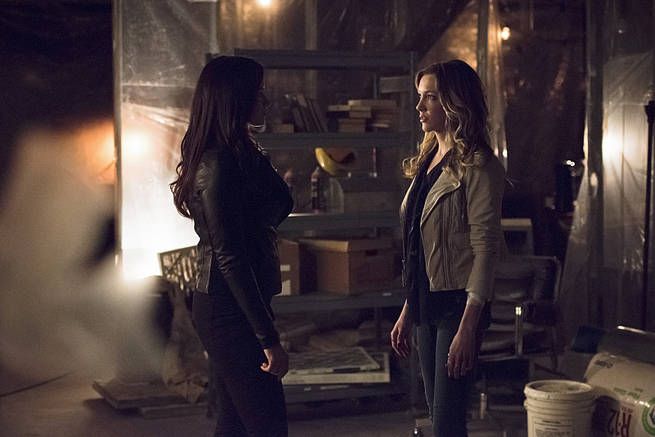 "Arrow -- ""Al Sah-Him"" -- Image AR321A_0009b -- Pictured (L-R): Katrina Law as Nyssa Al Ghul and Katie Cassidy as Laurel Lance -- Photo: Dean Buscher/The CW -- © 2015 The CW Network, LLC. All Rights Reserved."