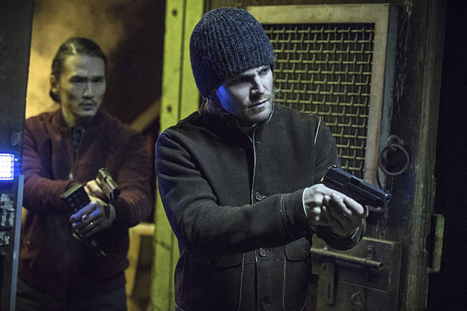 "Arrow -- ""Broken Arrow"" -- Image AR319A_0464b--Pictured (L-R): Karl Yune as Maseo and Stephen Amell as Oliver Queen -- Photo: Cate Cameron/The CW -- © 2015 The CW Network, LLC. All Rights Reserved"
