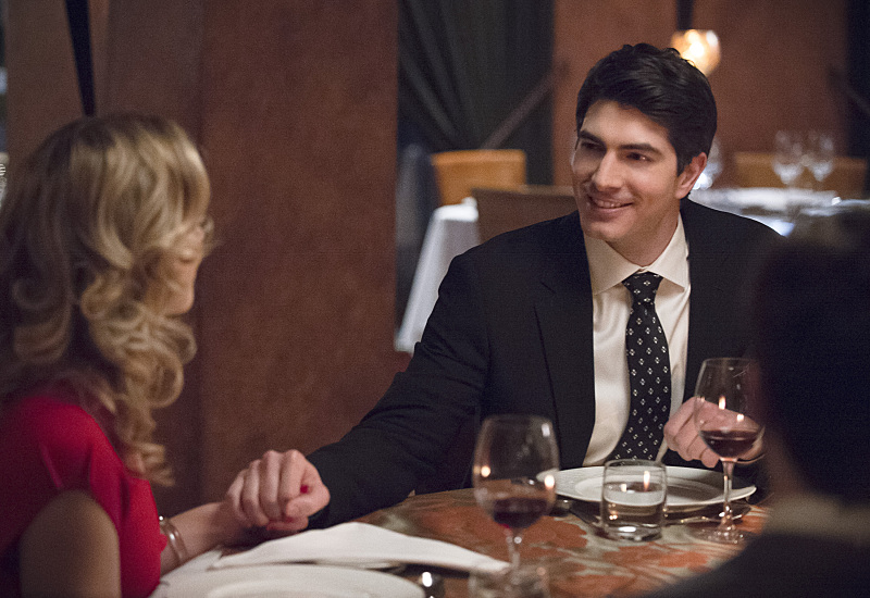 "The Flash -- ""All Star Team Up"" -- Image FLA118A_0248b -- Pictured (L-R): Emily Bett Rickards as Felicity Smoak and Brandon Routh as Ray Palmer -- Photo: Cate Cameron/The CW -- © 2015 The CW Network, LLC. All rights reserved."