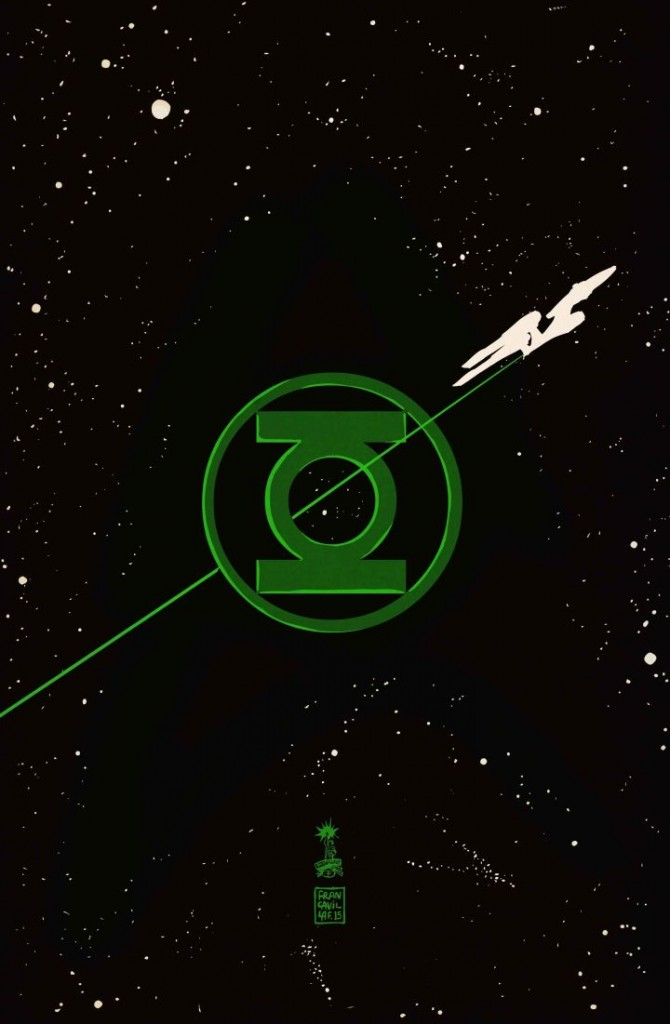 """Star Trek/Green Lantern: The Spectrum War"" variant cover by Francesco Francavilla."