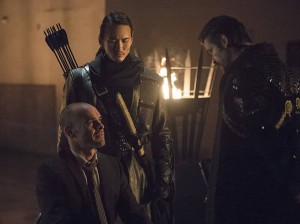 "Arrow -- ""Public Enemy"" -- Image AR318B_0097b -- Pictured (L-R): Paul Blackthorne as Quentin Lance, Karl Yune as Maseo, and Matt Nable as Ra's al Ghul -- Photo: Cate Cameron/The CW -- © 2015 The CW Network, LLC. All Rights Reserved."