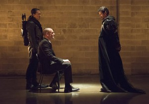 "Arrow -- ""Public Enemy"" -- Image AR318B_0009b -- Pictured (L-R): Karl Yune as Maseo, Paul Blackthorne as Quentin Lance, and Matt Nable as Ra's al Ghul -- Photo: Cate Cameron/The CW -- © 2015 The CW Network, LLC. All Rights Reserved."