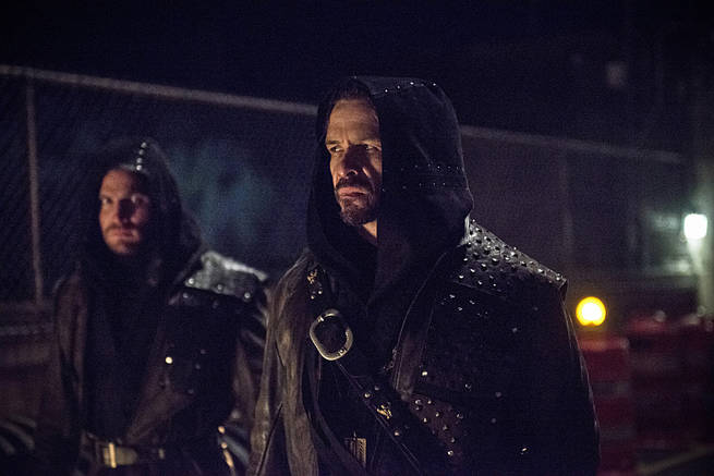 "Arrow -- ""My Name is Oliver Queen"" -- Image AR323C_0138b -- Pictured (L-R): Stephen Amell as Oliver Queen and Matt Nable as Ra's al Ghul -- Photo: Cate Cameron/The CW -- © 2015 The CW Network, LLC. All Rights Reserved."