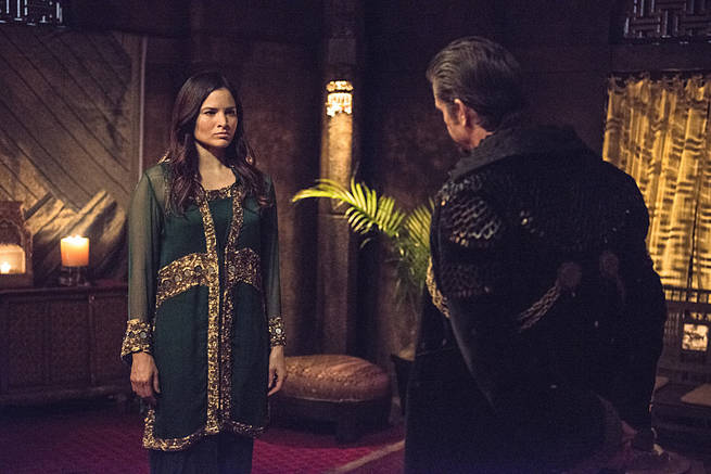 "Arrow -- ""This is Your Sword"" -- Image AR322A_0011b -- Pictured (L-R): Katrina Law as Nyssa al Ghul and Matt Nable as Ra's al Ghul -- Photo: Cate Cameron/The CW -- © 2015 The CW Network, LLC. All Rights Reserved."