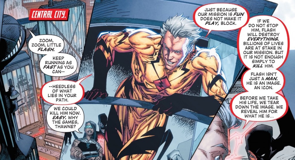 "Professor Zoom has plans to destroy the Flash once and for all...and it includes a little ""family history"". First strike in issue #43!"