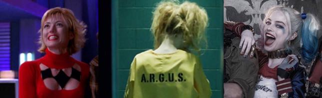 Mia Sara, Cassidy Alexa, and Margot Robbie as the Clown Princess of Crime