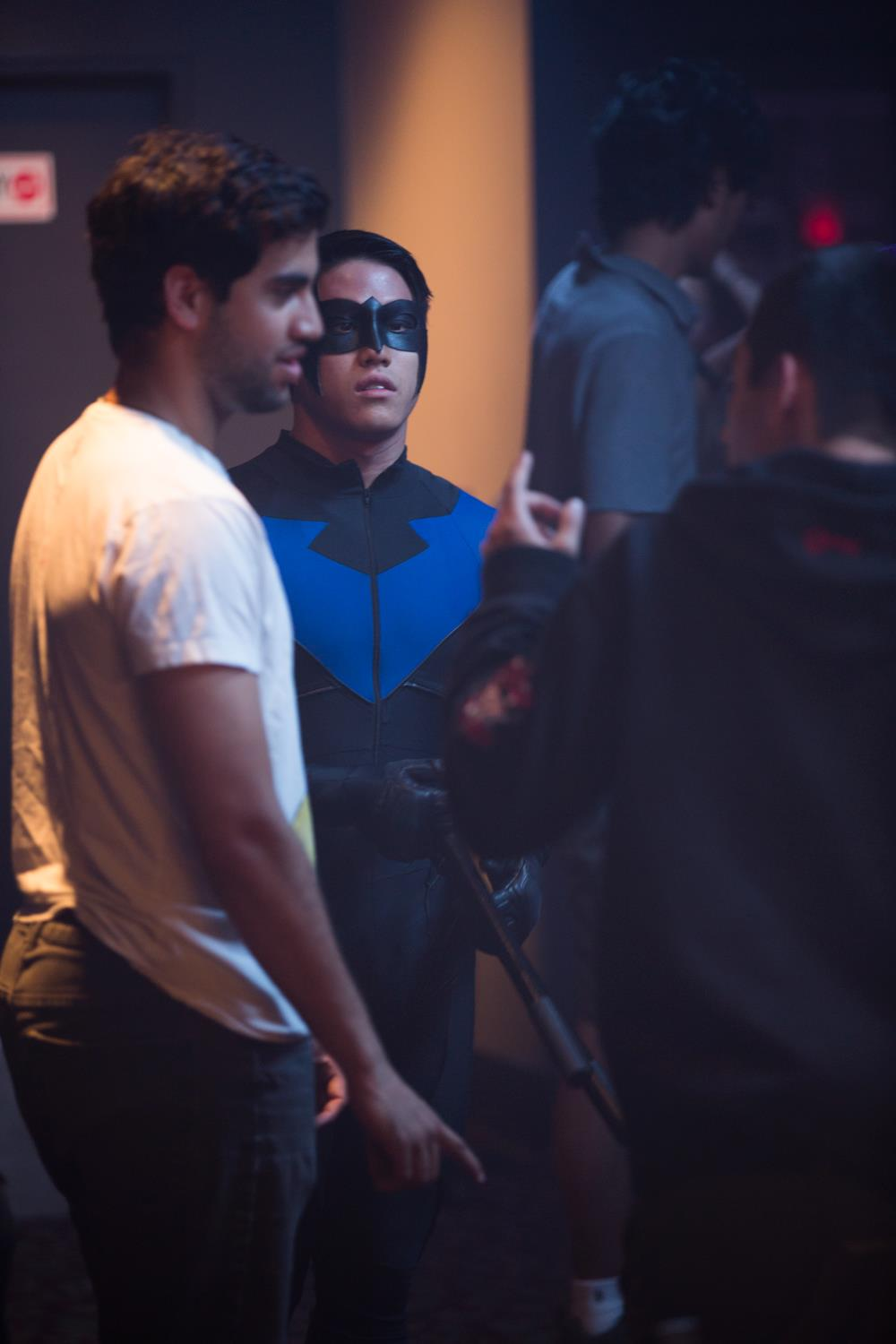 Stunt coordinator Yusuf Ahmed works out a scene with stunt double Taylor Tai!