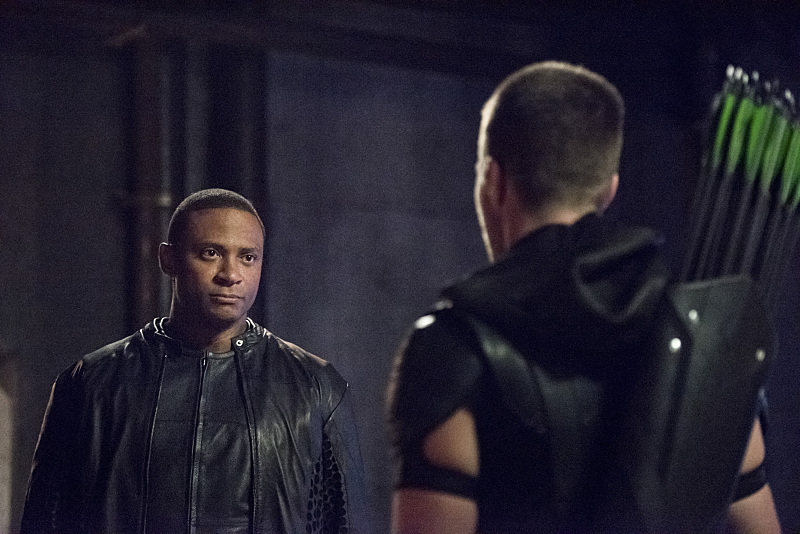 "Arrow -- ""Green Arrow"" -- Image AR401A_0283b -- Pictured (L-R): David Ramsey as John Diggle and Stephen Amell as Oliver Queen -- Photo: Dean Buscher /The CW -- © 2015 The CW Network, LLC. All Rights Reserved."