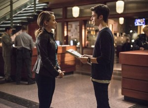 """The Flash -- """"The Fury of Firestorm"""" -- FLA204A_0024b -- Pictured (L-R): Shantel VanSanten as Patty Spivot and Grant Gustin as Barry Allen -- Photo: Cate Cameron /The CW -- © 2015 The CW Network, LLC. All rights reserved."""